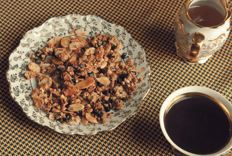 Granola with honey, blueberry, almond, and orange