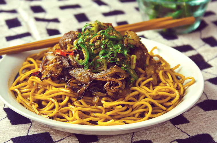 Cumin lamb with noodles